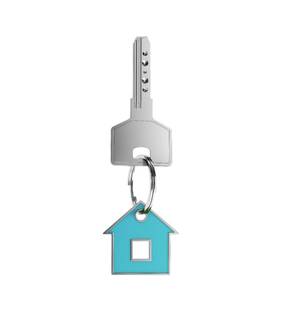 trinket: key with blue trinket in form house on white background