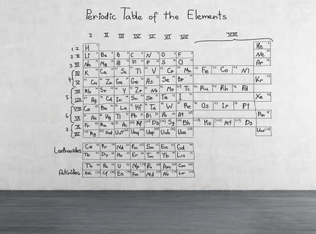 Periodic Table Of The Elements Drawing On Wall Stock Photo Picture