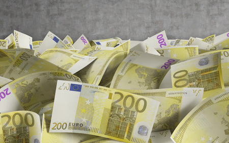 pay wall: 200 euro bills on a conctere wall background