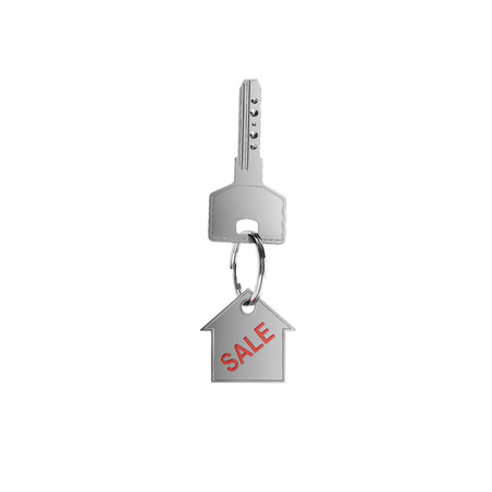 trinket: key with trinket in form house on white background