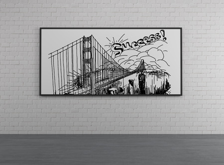 toll free: drawing bridge on a desk Stock Photo