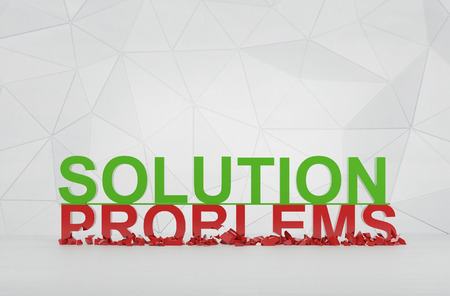 solution and problems symbol. 3d render photo