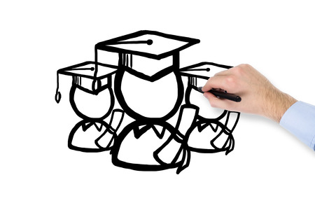 alumnus: hand drawing student in the Bachelor cap