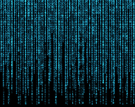 binary matrix: big virtual screen with blue matrix Stock Photo