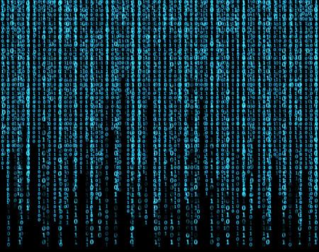 codigo binario: pantalla virtual grande con matriz azul