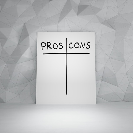 pros: poster with pros and cons symbol Stock Photo