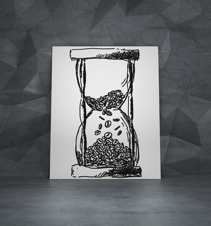 amaged: drawing hourglass with coing on poster Stock Photo