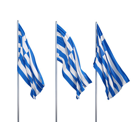 three waving flags of Greece on a white