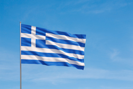 Waving flag of Greece on a sky