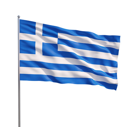 Waving flag of Greece on a white background Stock Photo