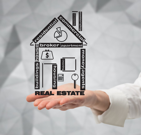 hand holding drawing  real estate icon photo