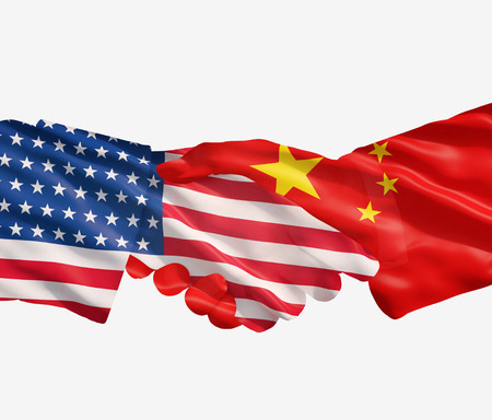 china business: China and US flags with a handshake on a white background