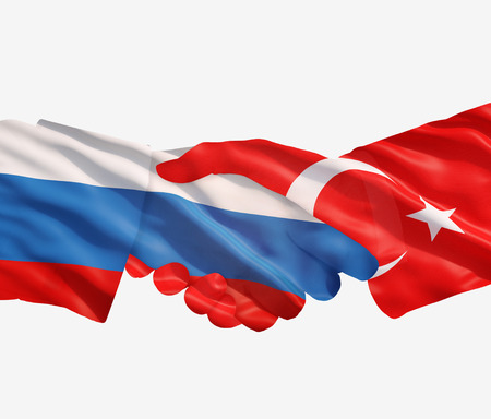 foreign national: russia  and turkey  flags with a handshake on a white  Stock Photo