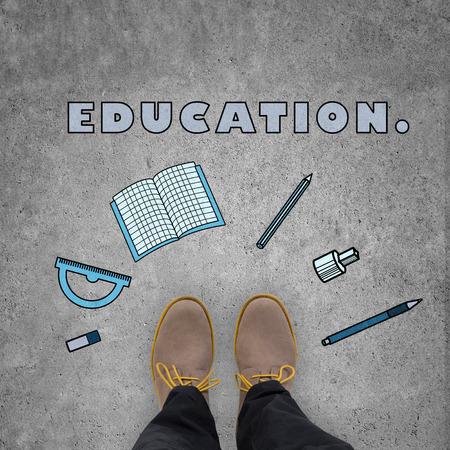 the alumnus: student leg standing on floor with education symbol