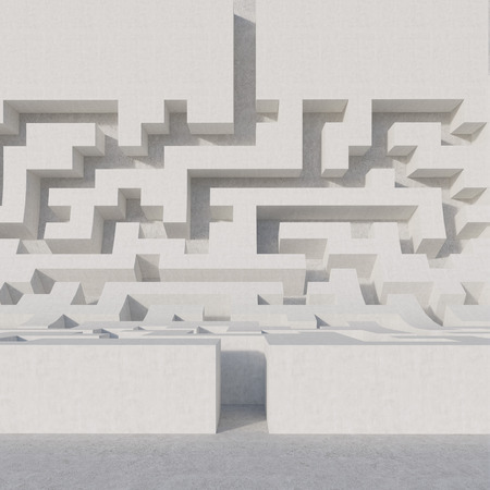 white maze bend, 3d render Stock Photo