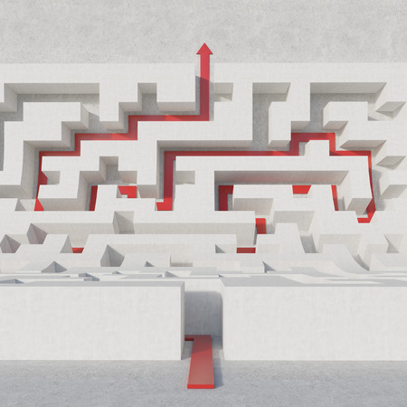 business solutions: white maze bend with red arrow Stock Photo