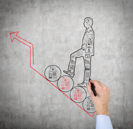 hand drawing man with business icons photo