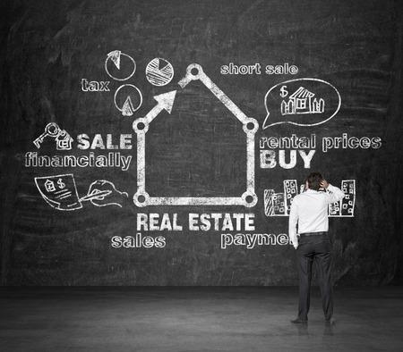realtor: realtor looking at drawing real estate concept on desk