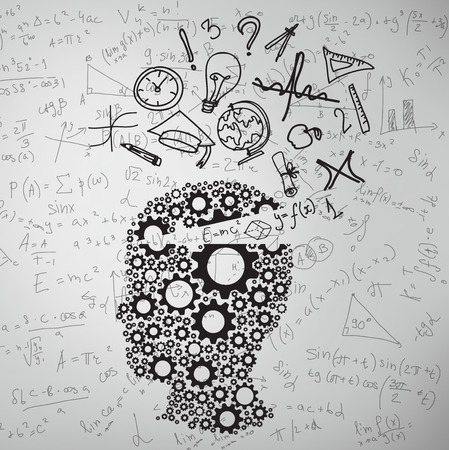 education: cogs head with educations symbol, close up