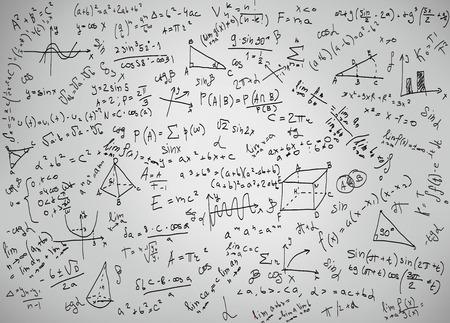 Wiskunde vergelijkingen en formules op een witte achtergrond Stockfoto