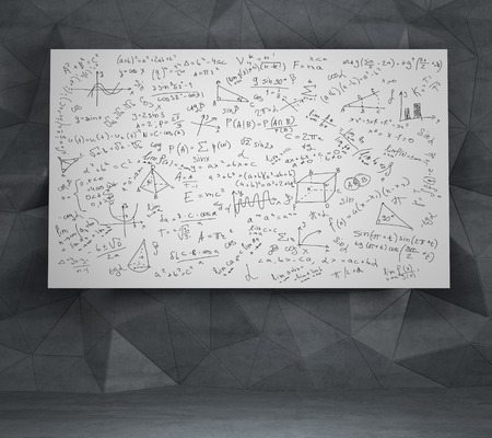 equations: Mathematics equations and formulas on a white desk Stock Photo