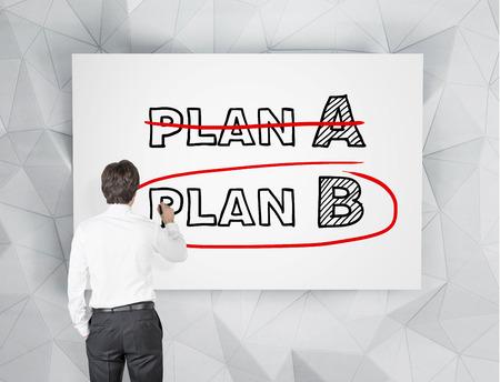 businessman drawing plan B on white poster photo