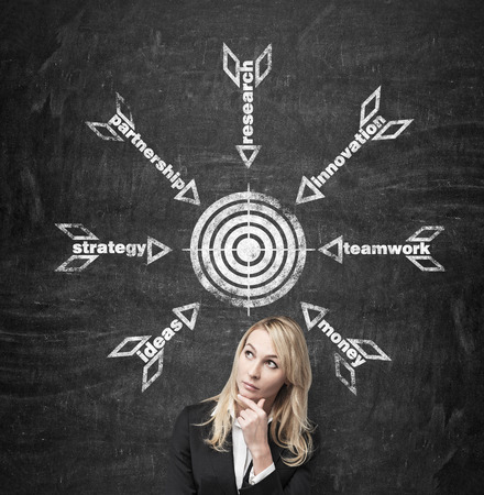 financial target: businesswoman thinking and drawing business icon over head