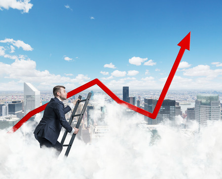 ascendant: Only clouds are higher than our business approach. New York Background. Stock Photo