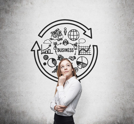 Young business lady is thinking of the optimization of business process photo