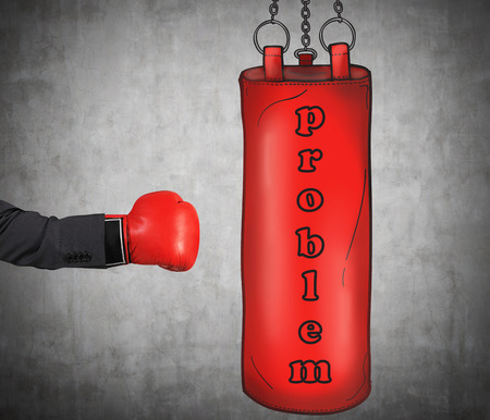 A hand in business suit is hitting the red punching bag, business problems concept