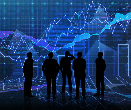 An abstract Forex graph room in blue with people siluet photo