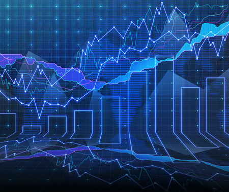 negotiable: An abstract Forex graph room in blue Stock Photo