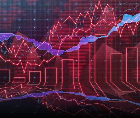 negotiable: An abstract Forex graph room in red