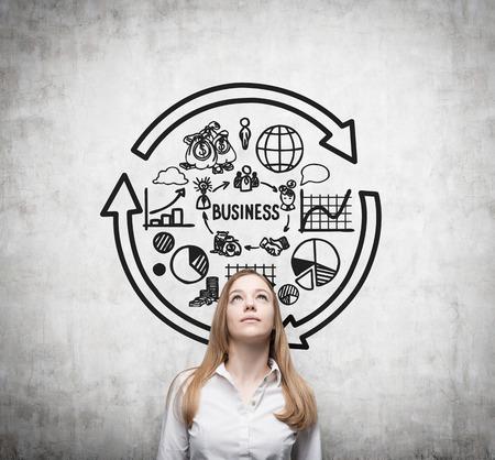 circulo de personas: Joven mujer de negocios est� pensando ciclo econ�mico.