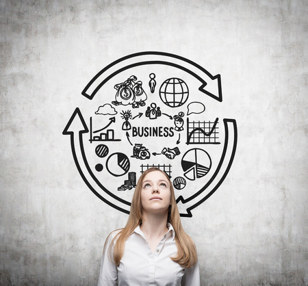 streamlining: Young business woman is thinking about business cycle.