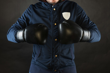 defensive posture: A man with boxing gloves Stock Photo