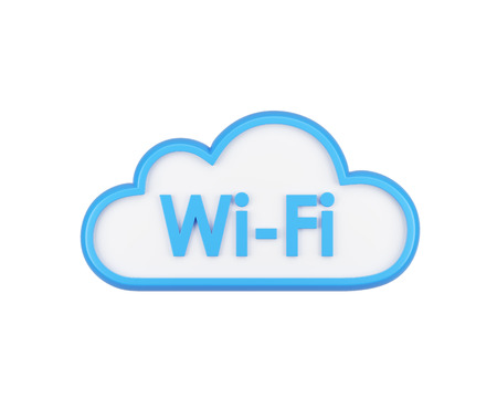 wifi access: The icon of wifi cloud. The concept of wireless internet access and data storage. Isolated. Stock Photo