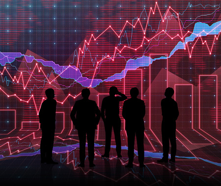 An abstract Forex graph room in red with people siluet photo