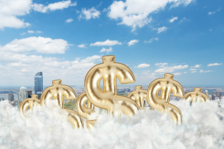 clouding: Golden dollar signs are flying in the clouds over the Central Park in New York Stock Photo