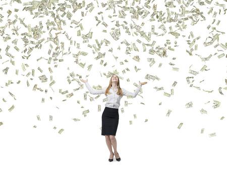 Hermosa mujer de negocios rubia es feliz por volar dólares notas. Aislado en el fondo blanco. Foto de archivo - 39563600