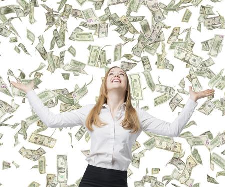Hermosa mujer de negocios rubia es feliz por volar billetes de dólar. Foto de archivo - 39563602