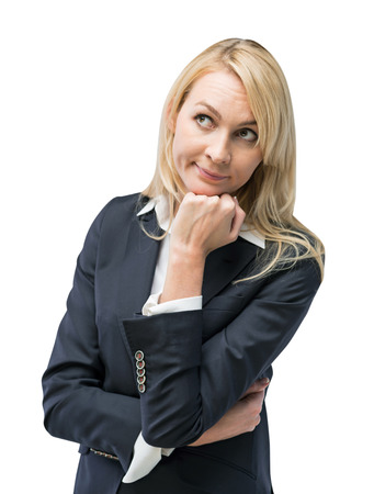 quizzical: Beautiful blonde business woman is thinking about business ideas. Isolated on white background.