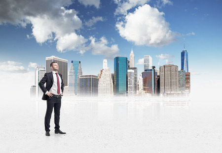 new business problems: Confident handsome businessman is going to tackle with problems in drawn New York business district. A concept of financial consultancy. Stock Photo