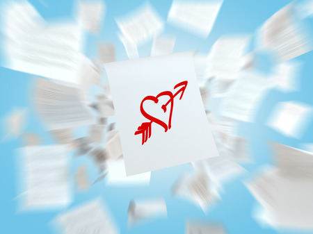 lustful: A sketch of the heart with the love arrow on the white flying paper. A concept of the romantic relationships.