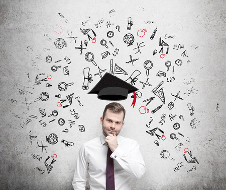 advantages: A prospective student is pondering over the advantages of education. A concept of the further business education.