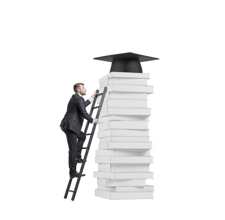 man hat: A student is climbing up to get university degree. Pile of books and a graduation hat as a prize. Isolated.