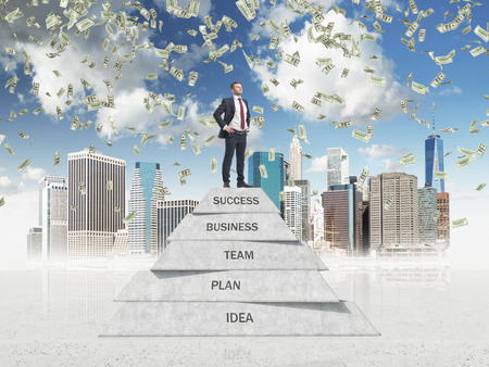 prowess: Successful manager is on the top of the business development pyramid in the sketched New York. Dollar bills are falling down from the sky. Stock Photo