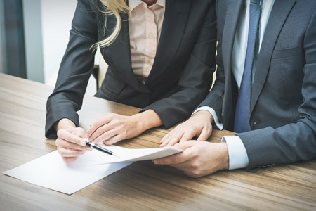 legal contract: Couple are negotiating the contract. A concept of the teamwork in the legal firm.