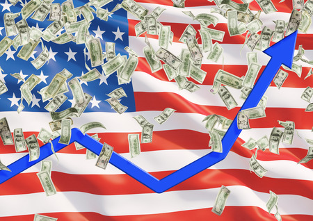 visions of america: United states flag and falling dollar bills from the ceiling. Blue arrow going up a as concept of the growth in economy.