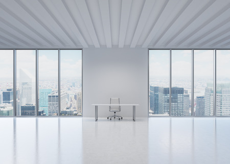 office window view: A workplace in a modern panoramic office in New York City. A concept of the financial and legal consulting services. Stock Photo